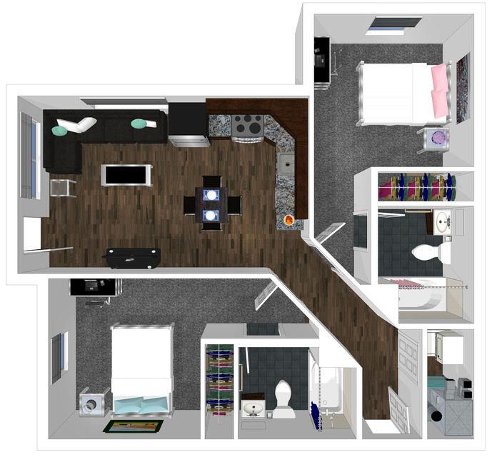 2 bed 2 bath floorplan drawing