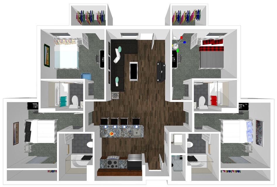 4 bed 4 bath floorplan drawing