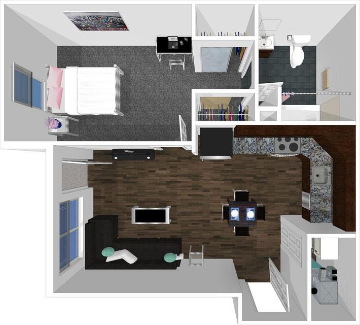 1 bed 1 bath floorplan drawing