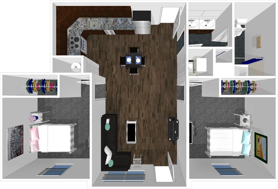 2 bed 1 bath floorplan drawing
